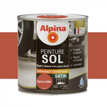 Peinture alpina spéciale sol terre cuite satin 0,5L