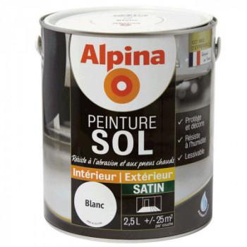 Peinture alpina spéciale sol blanc satin 2,5L