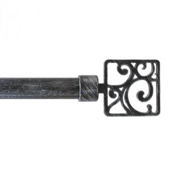 Kit tringle noir et argent 120-210cm
