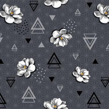 Toile cirée motif géométrique et floral gris 140 cm