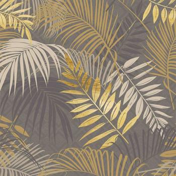 Sous-nappe motif végétal gris et doré 140 cm