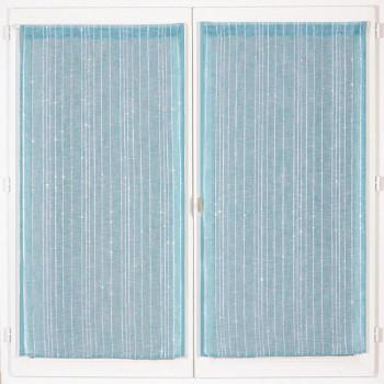 Paire de vitrage droit étamine pailleté-fil lurex bleu 60 x 90 cm