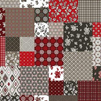 Tissu enduit imprimé patchwork rouge 140 cm