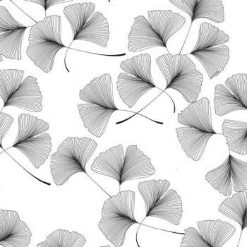 Tissu enduit imprimé floral gris 140 cm