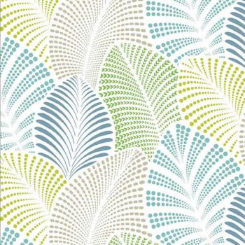 Tissu enduit imprimé feuille bleu vert 140 cm