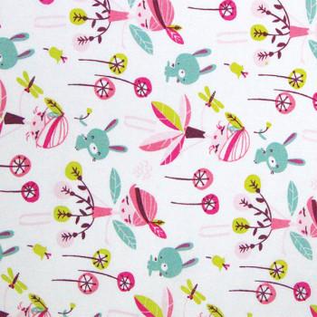 Tissu cretonne blanc rose imprimé fées oekotex 150 cm