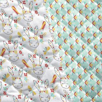 Tissu matelassé enfant imprimé lapin blanc oekotex 150 cm