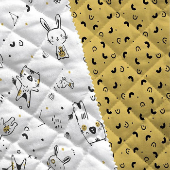 Tissu matelassé enfant imprimé forêt moutarde oekotex 150 cm
