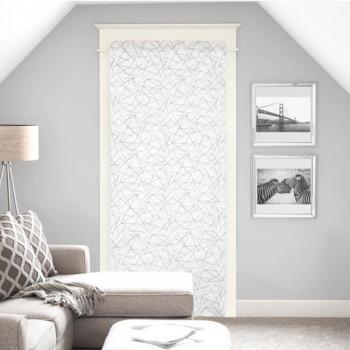 Vitrage droit étamine blanc géométrique 90 x 200 cm