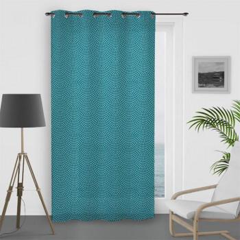 Rideau voile oeillet paon turquoise 135 x 250 cm