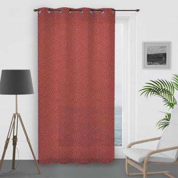 Rideau voile oeillet paon rouge 135 x 250 cm