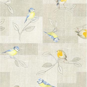 Toile cirée imprimé oiseau beige 140 cm