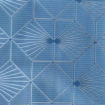 Toile cirée imprimé géométrique bleu 140 cm