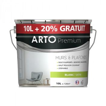 Peinture Arto Premium multi-supports blanc finition satin 12L