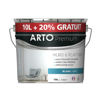 Peinture Arto Premium multi-supports blanc mat 12L