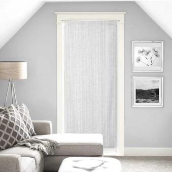 Vitrage droit étamine fil coupé rayures blanc 90 x 200 cm