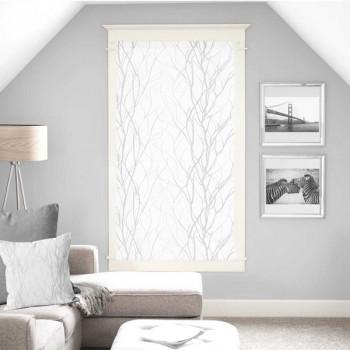 Vitrage droit voile blanc végétal 60 x 160 cm