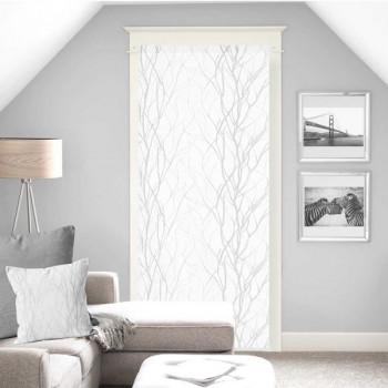 Vitrage droit voile blanc végétal 90 x 200 cm