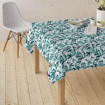 Tissu enduit motif feuillage vert 160 cm