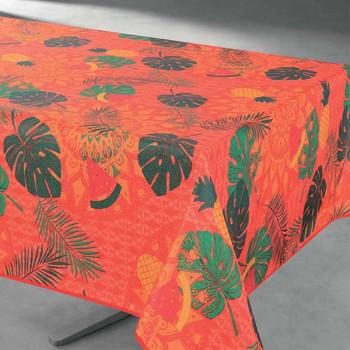Toile cirée imprimé végétal orange 140 cm