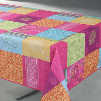 Toile cirée imprimé patchwork multicolor 140 cm