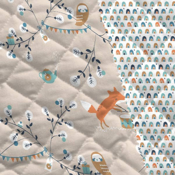 Tissu matelassé enfant imprimé forêt beige oekotex 150 cm