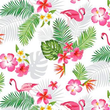 Toile cirée motif flamand rose 160 cm