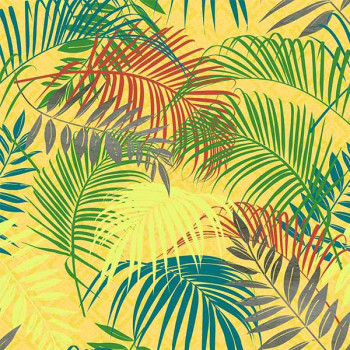 Toile cirée imprimé feuillage jaune 140 cm