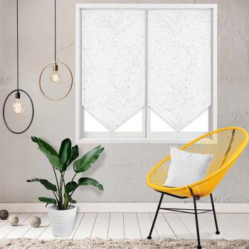 Paire de vitrage pointe voile blanc japonisant 60 x 120 cm
