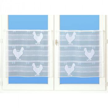 Paire de vitrage maille motif poule blanc 60 cm