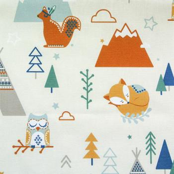 Tissu jersey écru imprimé animaux forêt oekotex 150 cm