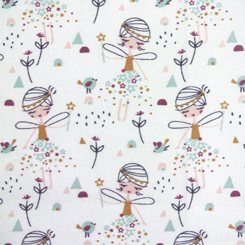 Tissu cretonne blanc imprimé fées oekotex 150 cm