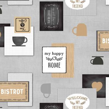 Toile cirée imprimé café bistrot gris beige 140 cm