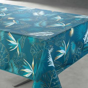 Toile cirée imprimé végétal bleu 140 cm