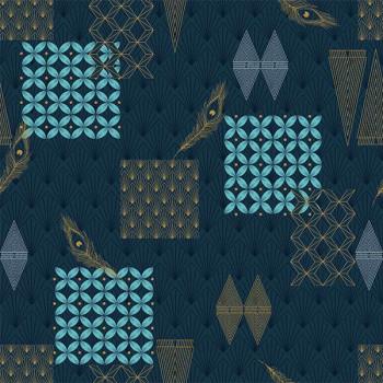 Sous-nappe imprimé géométrique bleu marine 140 cm