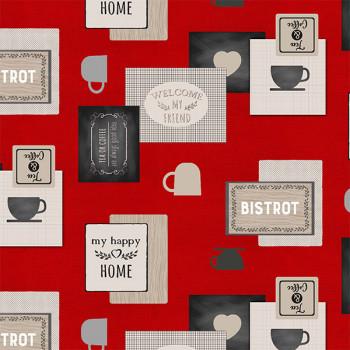 Sous-nappe imprimé café bistrot rouge 140 cm