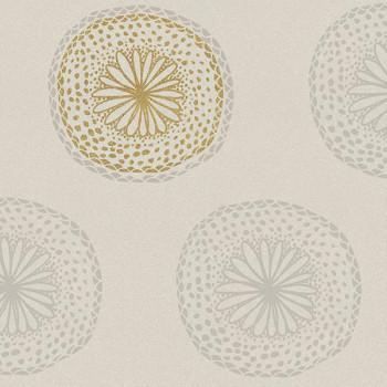 Toile cirée imprimé mandala or et beige 140 cm