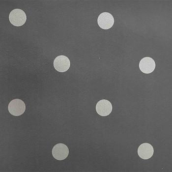 Toile cirée imprimé pois gris argent 140 cm