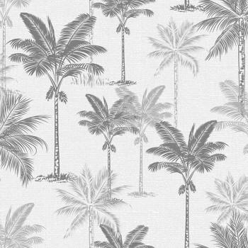 Toile cirée imprimé palmier gris doré 140 cm