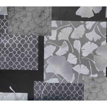 Toile cirée imprimé patchwork gris 140 cm