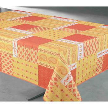 Toile cirée motif provençal orange 140 cm
