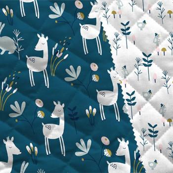 Tissu matelassé enfant imprimé forêt bleu oekotex 150 cm