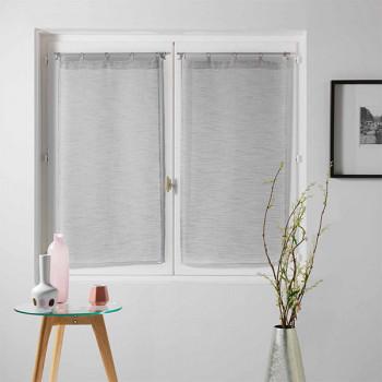 Paire vitrage MILZA voile tissé droit gris 60 x 120 cm