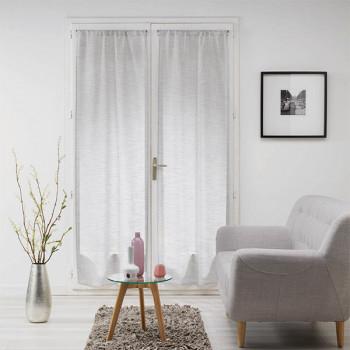 Paire vitrage MILZA voile tissé droit gris 70 x 200 cm