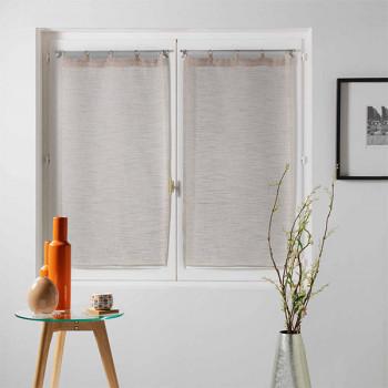 Paire vitrage MILZA voile tissé droit beige 60 x 120 cm