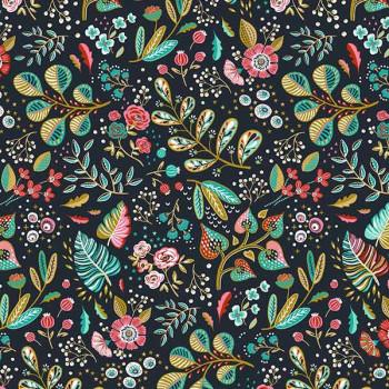 Tissu cretonne floral vert 150 cm
