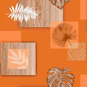 Toile cirée imprimé patchwork végétal orange 140 cm