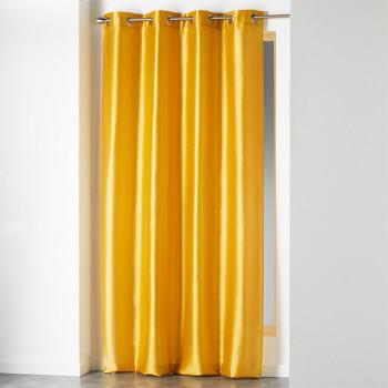 Rideau tissu jaune canard brillant