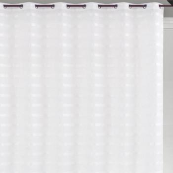 Rideau voilage jacquard rayures blanc