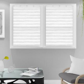 Paire vitrage voile tissé droit blanc rayures 60 x 90 cm